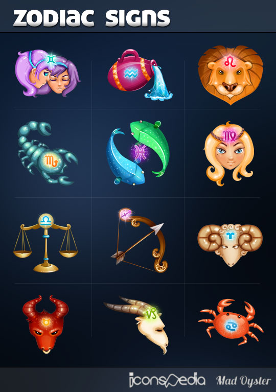 Free Zodiac Signs Icons by MadOyster