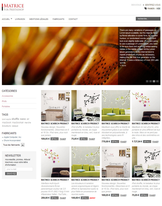 Matrice Prestashop template