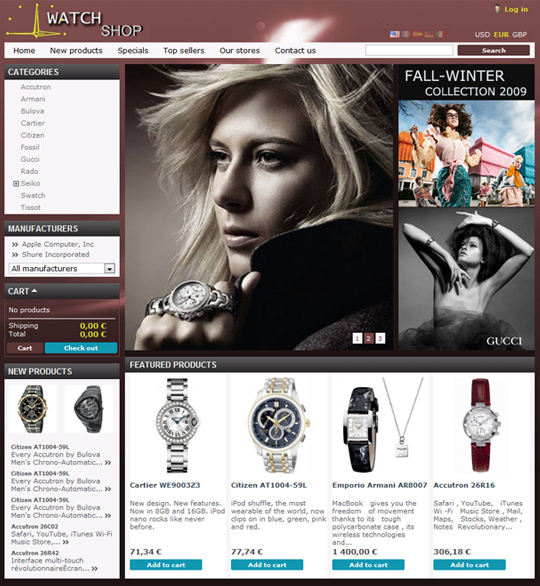 PrestaShop free watch shop theme