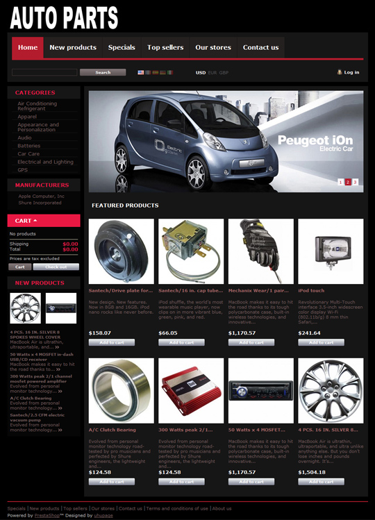 Car Parts PrestaShop 1.4 theme
