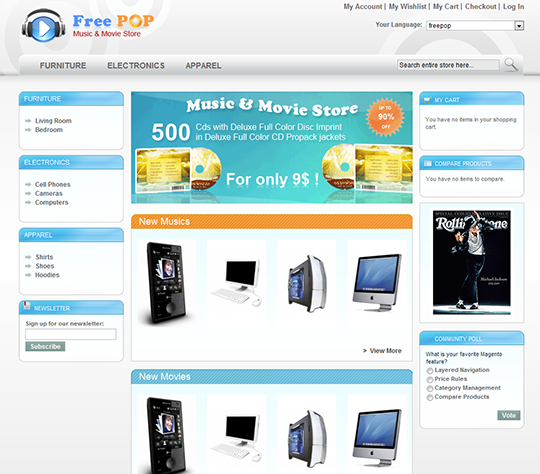 Music Movie Store Magento Template